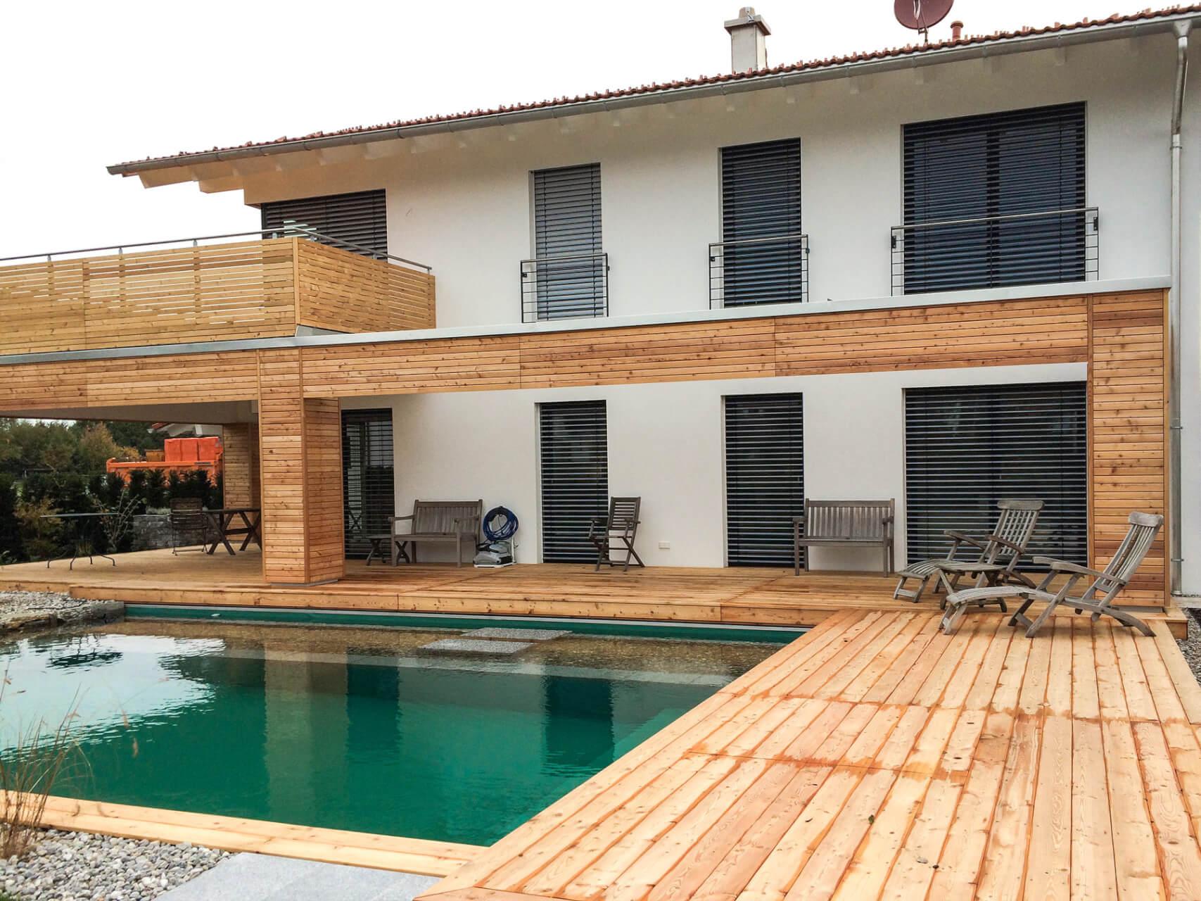 Holzbau Balkon Terrasse Pool – Holzbau Wernberger Traunstein